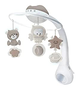 Infantino 3 in 1 Projector Musical Mobile, cot & Table top Night Light, Wake up Mode simulates Daylight, Grey