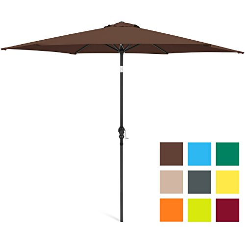 Best Choice Products 10ft Outdoor Steel Market Backyard Garden Patio Umbrella w/Crank, Easy Push Button Tilt, 6 Ribs, Table Compatible – Brown