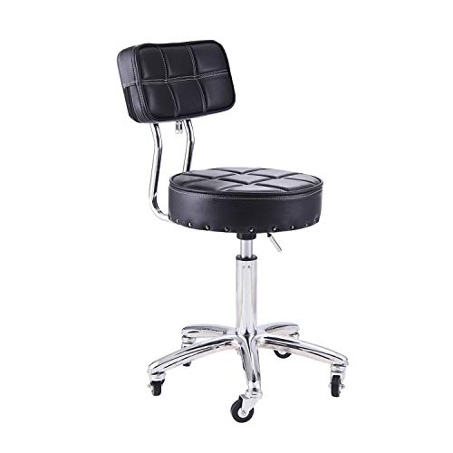 Rfiver Small Swivel Massage Chair Spa Stool with Back Height Adjustable Rolling Work Stool Drafting Stool in Black SC1003-1