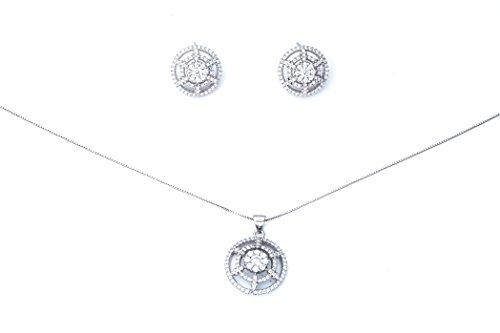 Ana Morales Parure de bijoux en argent sterling925 et zircons