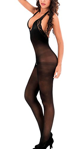Amstt Women's Sexy Halter Sheer Lace Bodystocking Lingerie Backless Thigh Bodysuit (Back Opaque Bodystocking)