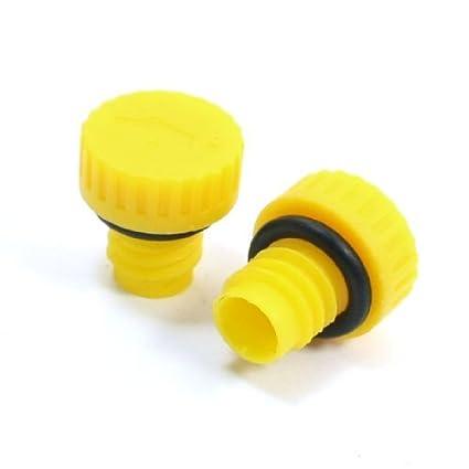 Antideslizante de plástico amarillo Tapón de aceite del compresor de aire para 2pcs