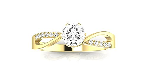 0.58 Ctw 14K Yellow Gold Elegant Twisting Split Shank Engagement Ring w/ Round 0.5 Carat Forever One Moissanite Center 14k Yellow Gold Split Ring