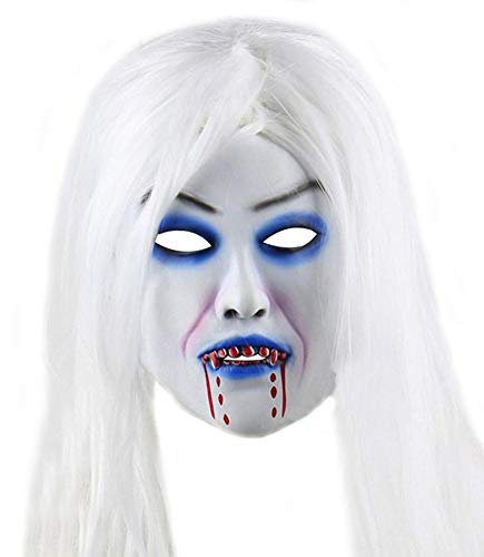 Halloween Horror Grimace Ghost Mask Scary Zombie Emulsion Skin with Hair (White Hair)]()