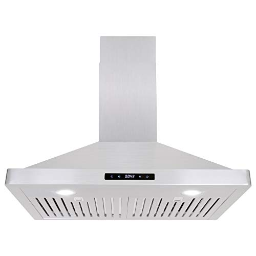 Cosmo 63175S 30-in Wall-Mount Range Hood 760-CFM with Ducted / Ductless Convertible Duct, Ceiling Chimney-Style Over Stove Vent with LED Light, Permanent Filter, 3 Speed Exhaust Fan (Stainless Steel)