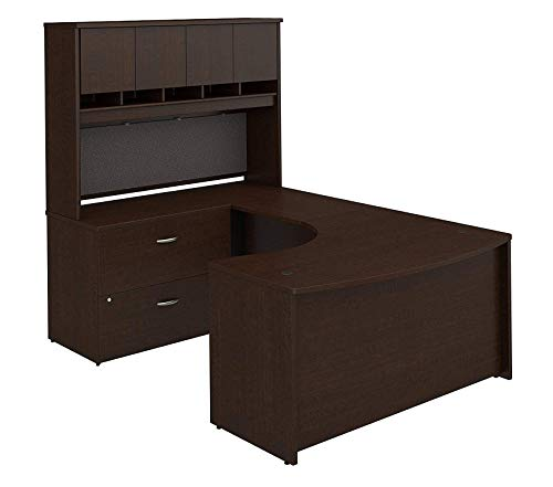 Right Lateral File Bow - Wood & Style Furniture Right Handed U Shaped Desk with Hutch and Lateral File Cabinet in Mocha Cherry Premium Office Home Durable Strong
