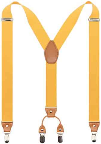 a9cc4d894 Men s Y-Back 4 Metal Clip Elastic Wide Suspenders Perfect For Both  Casual Formal