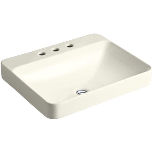 KOHLER K-2660-8-96 Vox Rectangle Vessel Above-Counter Bathroom Sink with 8-Inch Widespread Faucet Holes, Biscuit