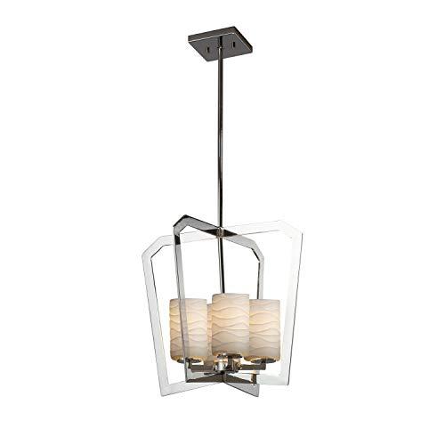 Justice Design Group Lighting POR-8014-10-WAVE-CROM Limoges Aria 4-Light Chandelier - Polished Chrome Finish - Cylinder with Flat Rim Translucent Porcelain Shade with Waves - Chandelier Aria Light 10
