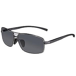 SUNGAIT Ultra Lightweight Rectangular Polarized Sunglasses UV400 Protection (Gunmetal Frame Gray Lens, 62) Metal Frame 2458 QKH