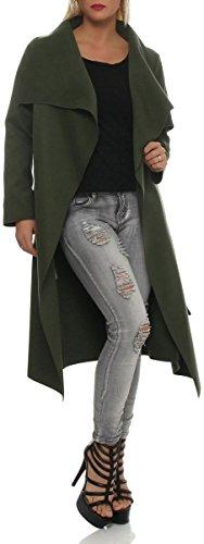 malito larga Abrigo con Cascada Capote Manteo Gabán Chaqueta Envolver Bolero 3040 Mujer One Size oliva