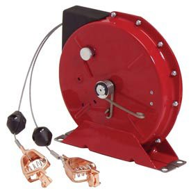 Static Discharge/Grounding Reel, 50ft Cable, w/Dual Clamps on end (Discharge Reels Static)