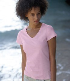 Mujer Fruite of the Loom Lady-fit Value weight V-neck T-Shirt, vers. ¿Coloures S, y blanco?