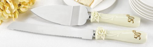 Hortense B. Hewitt Wedding Accessories 50th Anniversary Pearl Rose Cake Knife and Server Set