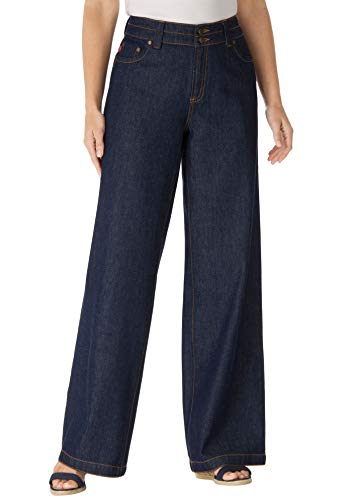 Woman Within Plus Size Wide Leg Cotton Jean - Indigo, 22 W