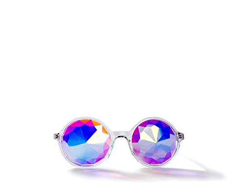 Rave Cats Clear Kaleidoscope Glasses, Rainbow Prism - For Music Festivals, LED Light shows, - Big Glasses Style Are In 2015