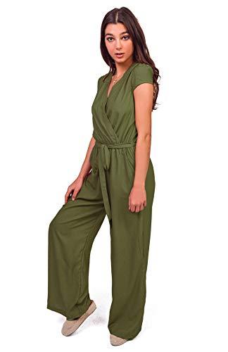 (Bebop Women's, Olive, X-Large, Woven Challis Cap Sleeve Surplus Front Wrap Self Belted Wide Leg Palazzo Jumpsuit)