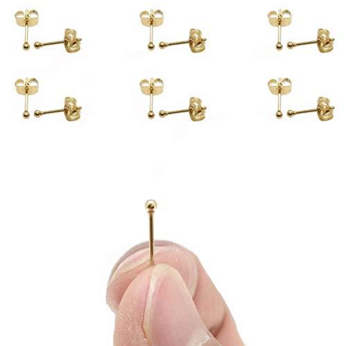 Gorgeouser 14K Gold Plating Tiny 2MM Dot Stud Earrings Mini 20G Cartilage Piercing Ear Studs Micro Ball Post Earrings for Women&Men