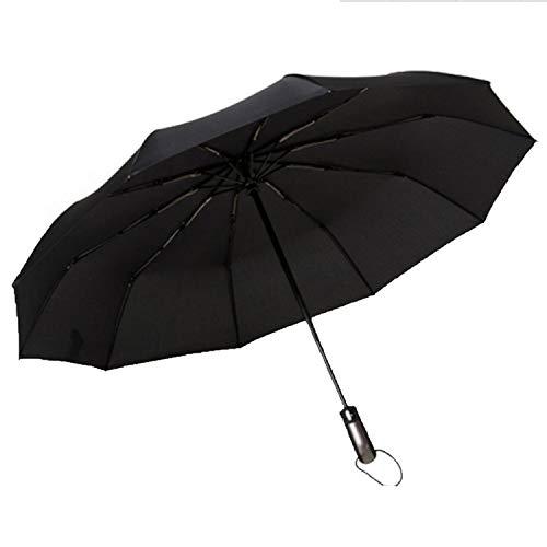 Wind Resistant Three Folding Automatic Umbrella Rain Women Auto Luxury Big Windproof Umbrellas Men Frame Windproof 10K Parasol,Black As Photo Show (Replacement Downspout)
