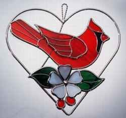 Stained Glass Cardinal on a Wire Heart Ring