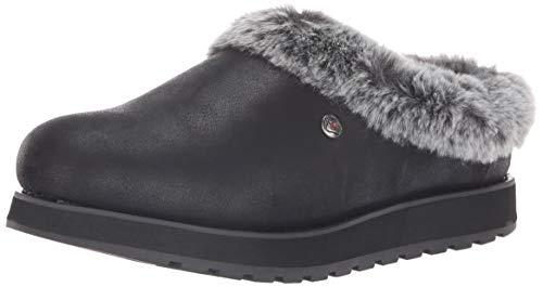 Skechers BOBS Women's Keepsakes-R E M Faux Fur Lined Shootie with Memory Foam Slipper, Black, 8.5 M US