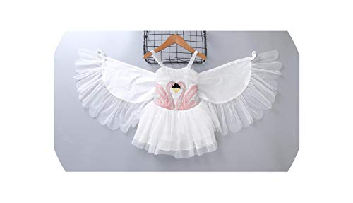 Baby Girls Swan Wings Dress Embroidery Flamingo Perform Costumes Children -