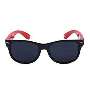 Mommy'sJoy Silicone Flexible Kids Polarized Sunglasses for Boys Girls Children Age 1-10 Yr (BlackRed)