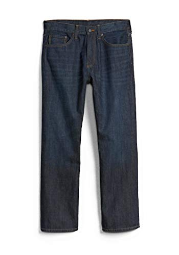 Gap Classic Jeans - GAP Men's Jeans in Relaxed Fit, Dark Resin Wash, Non-Stretch Cotton (38x32)