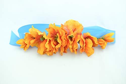Pave Wedding Designs Dog Sash Ribbon Collar with Silk Orange Poppies