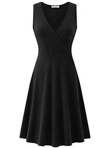 V-neck Tank Dress - GUBERRY Womens Tank Dress Deep V Neck Cross Wrap Casual Summer Flare Midi Dress Black