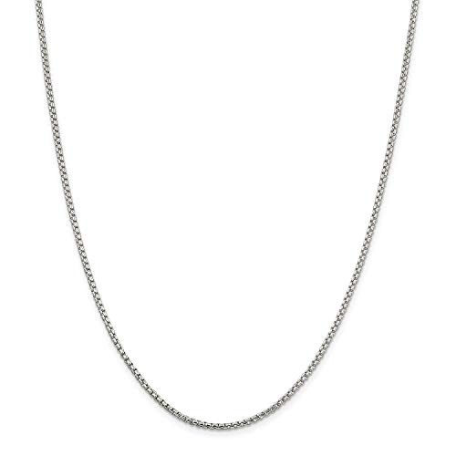 Authentic Solid Sterling Silver Round Box Cable Rolo Link Heavy-Duty .925 Rhodium Necklace Chains 2MM 2.5MM 16