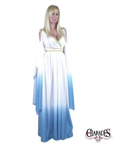 [Womens Plus White & Blue Greek Goddess 3X] (Kids Greek Outfit)