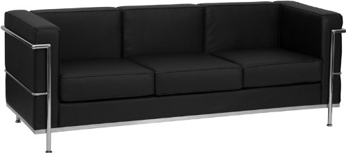 Flash Furniture ZB-BRETTFORD-810-3-SOFA-BK-GG Hercules Bretford Series Contemporary Black Leather Sofa with Encasing Frame