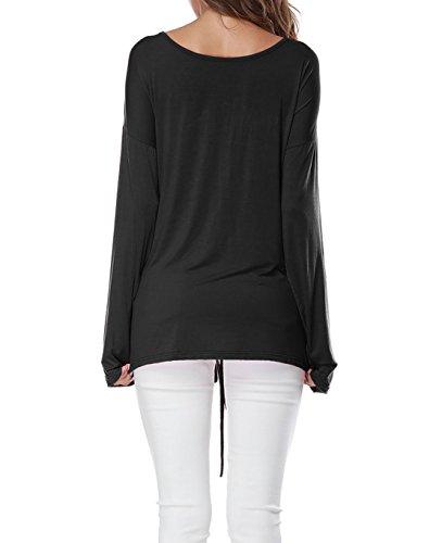 Manches Longues Chemisiers T Bandage Haut Blouse Noir Lache Couleur Unie Tops Onlyoustyle Casual Ajustable Femmes Shirt xwq8AaS0T