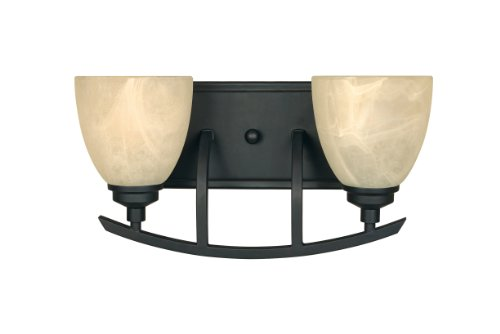 Bath Bars 2 Bulb - Designers Fountain 82902-BNB Burnished Bronze Tackwood 2 Light Bath Bar