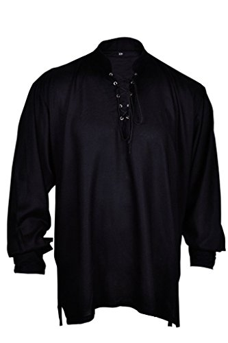 GothikShop Men's Casual Summer Pirate Shirt Medieval Hippie Costume Large Black