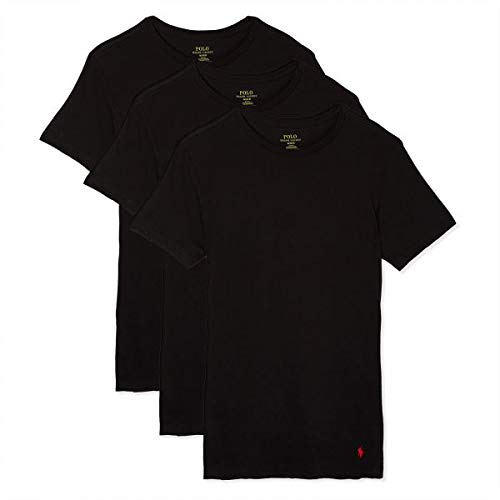 Polo Ralph Lauren Slim Fit Crew Neck Undershirts 3-Pack Black Large ()