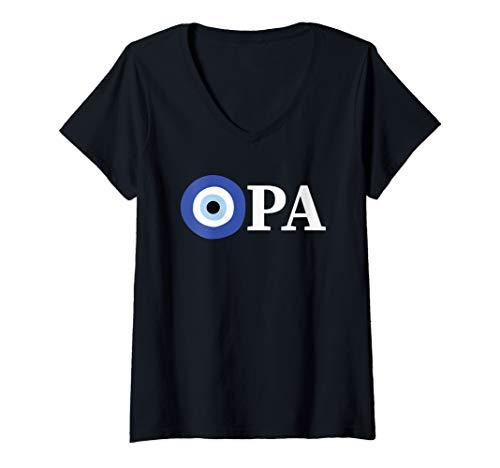 (Womens Opa Evil Eye - Greek Flag Colors - Greek Pride Gift V-Neck T-Shirt)