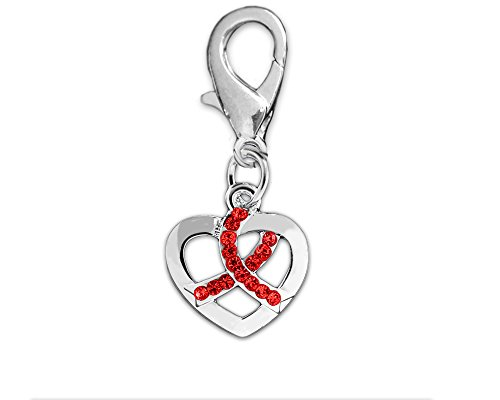 Crystal Heart Ribbon - Crystal Red Ribbon Silver Heart Hanging Charm (Retail)
