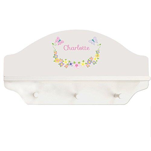 Baby Butterfly Shelf - Personalized Pastel Butterflies White Three Peg Shelf