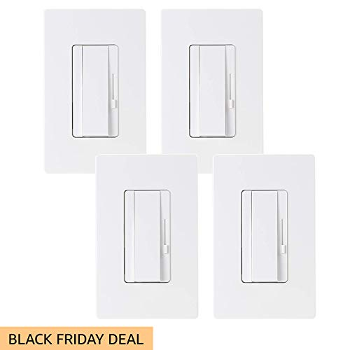 TORCHSTAR 4 PACK 3-Way/Single Pole Dimmer Switch, Suit for 150W LED/CFL 600W Incandescent/Halogen, Both Single Pole/3-Way Applications Available, Wall Plate Included, UL Listed