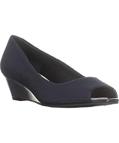 Heels Alfani - Alfani Womens Cami2 Fabric Open Toe Casual Heels, New Navy, Size 8.0