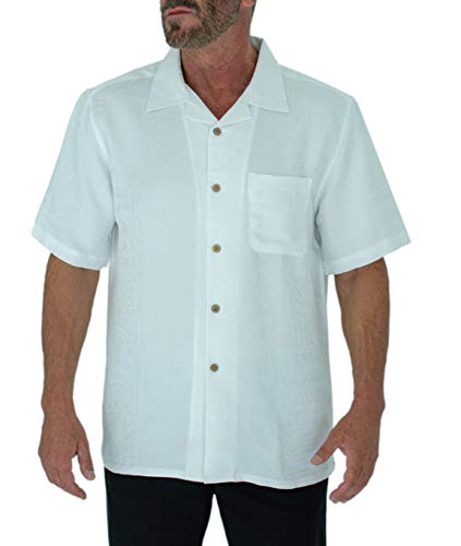 Short Fin Button Down Premium Textured Modal Shirt (2X Large, White 8047)