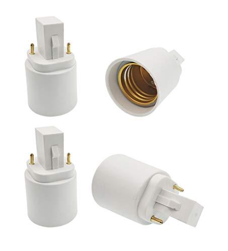 4-pack G24 to E27 Adapter, 21.8mm, 2p, E-simpo G24d to E26 Lamp Base Converter, Rohs.Z1003