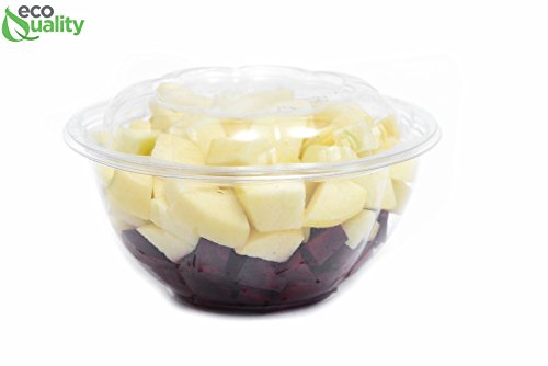 24oz Clear Disposable Salad Bowls with Lids (600 Pack) - Clear Plastic Disposable Salad Containers for Lunch To-Go, Salads, Fruits, Airtight, Leak Proof, Fresh, Meal Prep | Rose Bowl Container (24oz)