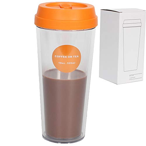 18 OZ Coffee Travel Mugs Camping Fruit Juice Tumbler Beverages and Tea Travel Mugs Double Wall Insulated Party Mugs 520 ML with Lid Camping Mugs for Coffee,Tea,Soft Drinks,Milk Shake- BPA Free -  LeaderPool, Mugs228