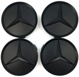 Coprimozzo con stemma Mercedes Benz, 4 x 75 mm, colore nero opaco