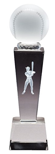 Male Baseball Optical Crystal Trophy Figure Laser Engraved Inside