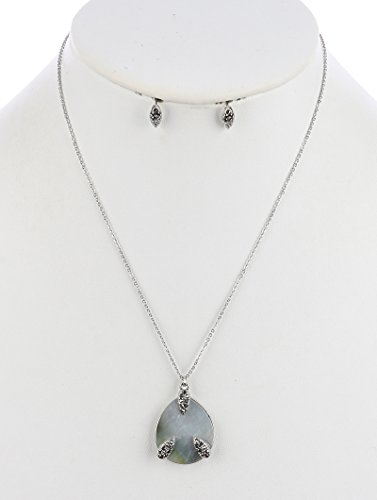 Hematite teardrop pendant oyster shell finish necklace and earring set Fashion Jewelry FancyCharm
