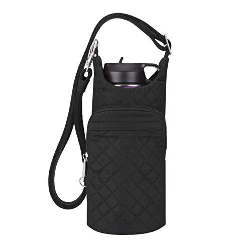 (Travelon Anti-Theft Boho Water Bottle Tote Sling, Black One Size)